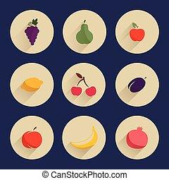 Set of flat design icons of fruits