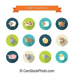 Set of flat design icons with farm animals
