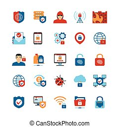 Flat Design Internet Security Icons - Set Of Flat Design...