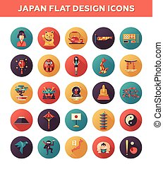 Set of flat design Japan travel icons and infographics elements with landmarks, famous Japanese symbols