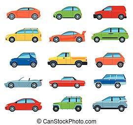 Set Of Flat Design Passenger Car Icons. Isolated Vector Illustration