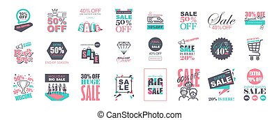 Set of Flat Design Sale Stickers Templates.