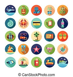 Set of flat design seaside travel vacation icons and infographics elements