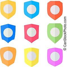 Set of Flat design Shields. Vector