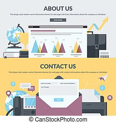 Set of flat design style banners for web pages with basic ...