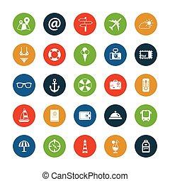 Set of flat design travel icons