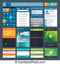 Set of flat design ui elements for mobile app and web