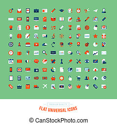 Set of flat design universal icons. Icons for business,...