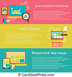 Set of flat design vector illustration concepts for creative process, web design, development
