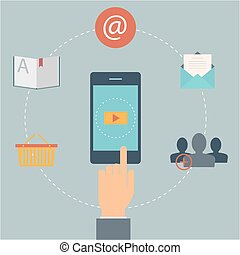 Set of flat design web icons for mobile phone services and apps. Concept: marketing, email, video