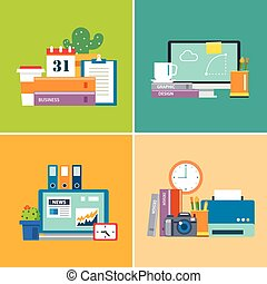set of flat design workspace. designer, business, student
