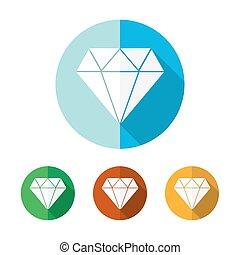 Set of flat diamond icons. Vector illustration.
