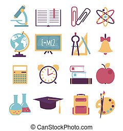 Set of flat education icons