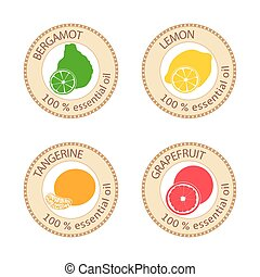 Set of flat essential oil labels. Bergamot, lemon, grapefruit, mandarin. Logo collection. Vector illustration. Brown stamps, bright silhouettes. For stickers, tags, aromatherapy, cosmetics, perfumery