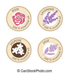 Set of flat essential oil labels. 100 percent. Rose,...