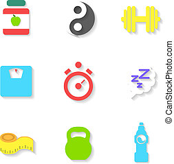 Set of Flat Fitness Icons. Vector illustration