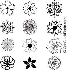 Set of flat flower icons