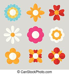 Set of Flat Flowers. Blossom. Vector illustration.