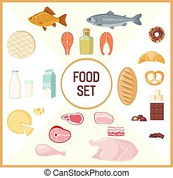 Set of flat food.