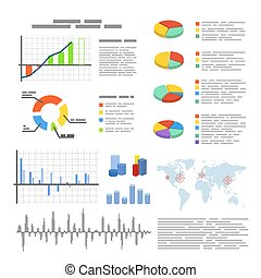 Set of flat graphics and diagrams, infographic elements isolated on white