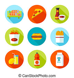 Set of flat grocery and food icons.