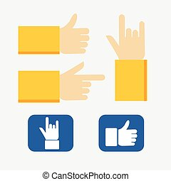 Set of flat hand icons.