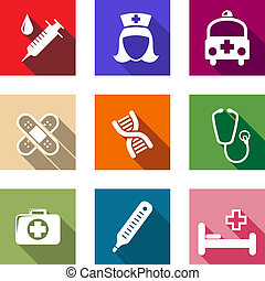 Set of flat healthcare and medical icons depicting syringe, nurse, ambulance, plasters, DNA, stethoscope, first aid kit, thermometer and hospital bed