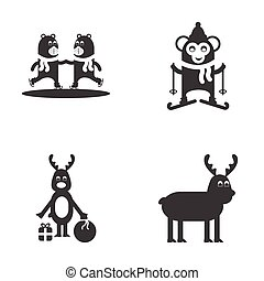 Set of flat icon black and white style animals winter