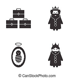 Set of flat icon black and white style biblical history
