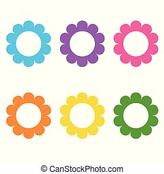Set of flat icon flower icons in silhouette isolated on white. daisy logo