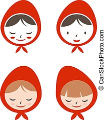 Set of flat icon girl in red hat. Vector illustration