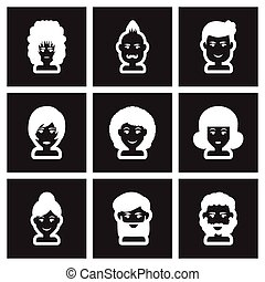Set of flat icon in black and white style hairstyle