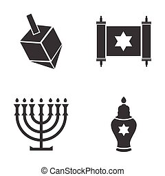 Set of flat icon in black and white style Hanukkah