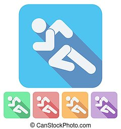 Set of Flat icon with Running people simple symbol. Vector
