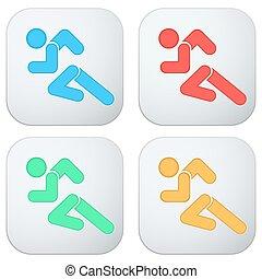 Set of Flat icon with symbol Running men.
