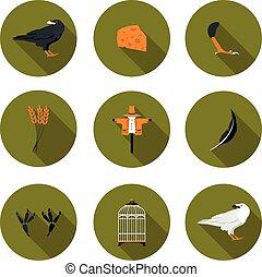 set of flat icons crow