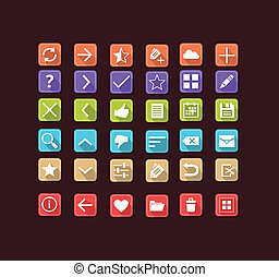 Set of flat icons for mobile app an