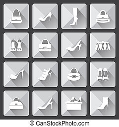 Set of flat icons for mobile app and web with long shadows. vector