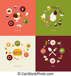 Set of flat design concept icons for restaurant, food and drink. Icons for dessert, drinks, fast food, menu.