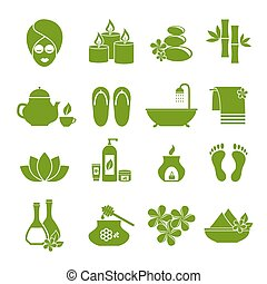 set of flat icons for spa.