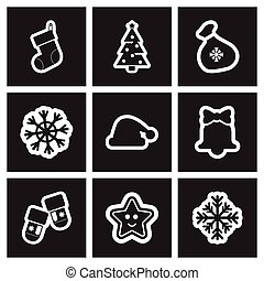 Set of flat icons in black and white Christmas