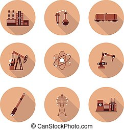 set of flat icons industry