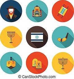 set of flat icons Judaism