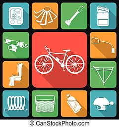 Set of flat icons of bicycle access