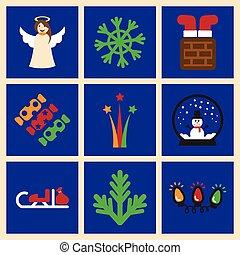 Set of flat icons on blue background Christmas