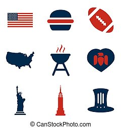 Set of flat icons on white background American