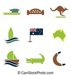 Set of flat icons on white background Australian
