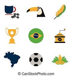 Set of flat icons on white background Brazil