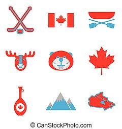 Set of flat icons on white background Canada
