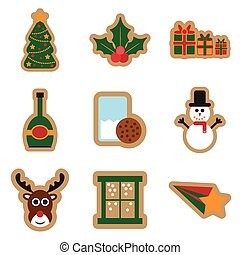 Set of flat icons on white background Christmas